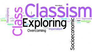Word art image featuring words such as: classism, class, exploring, justice, internalized, etc.