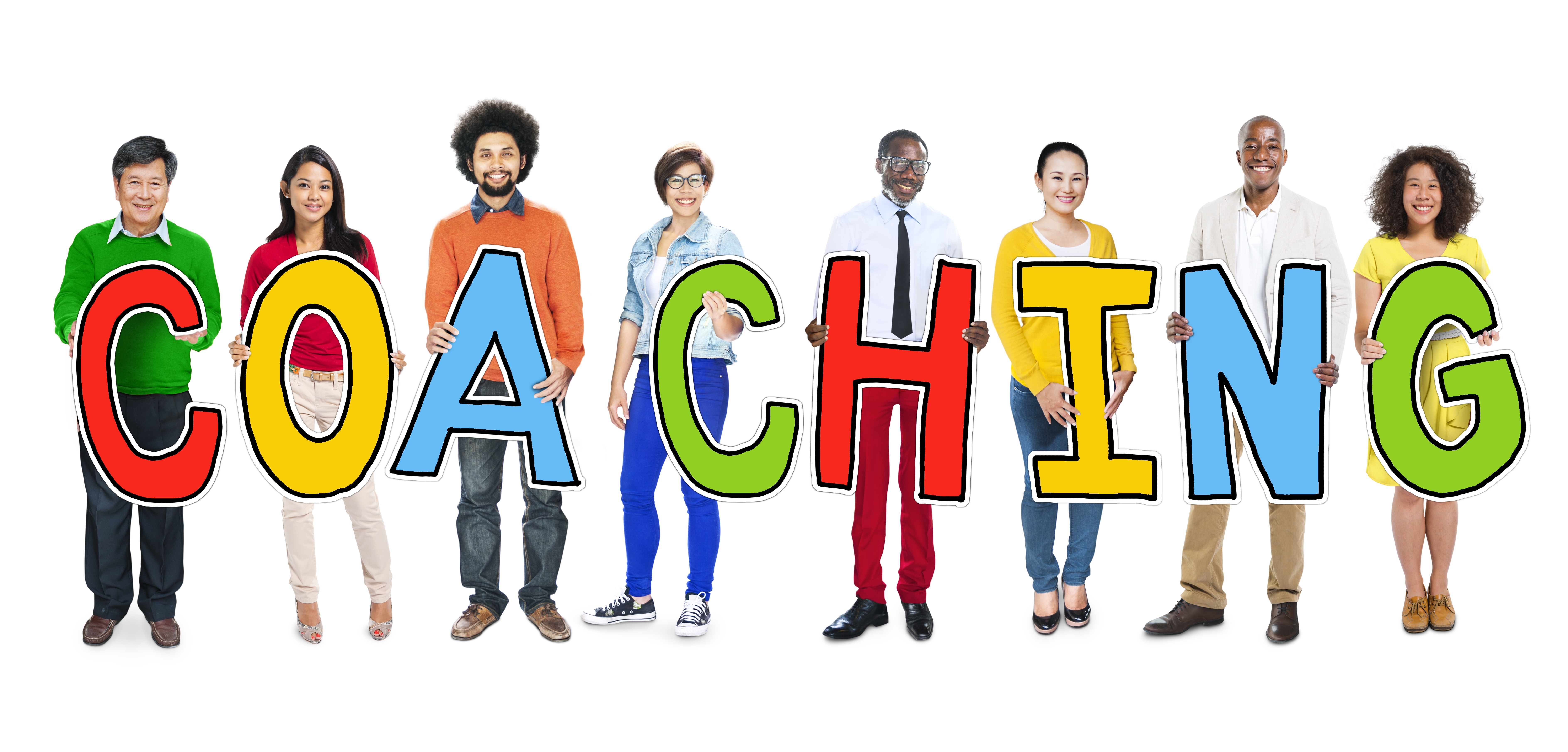 "People of color from different racial backgrounds stand in a line. Each one holds a bright cutout letter that, when viewed together, spell ""coaching,"" photo by Rawpixel."